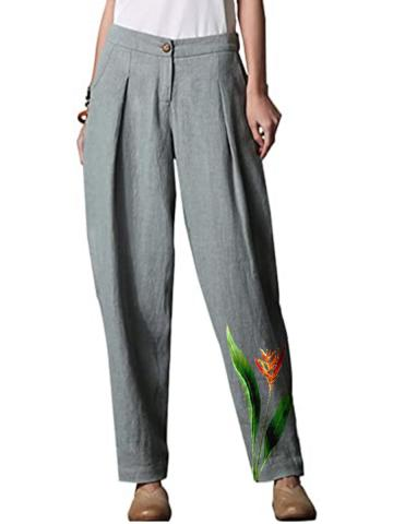 New cotton and linen plant printing casual wide-leg pants
