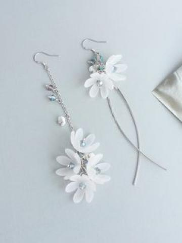 Non-Matching Flower Drop Earring / Clip-On Earring