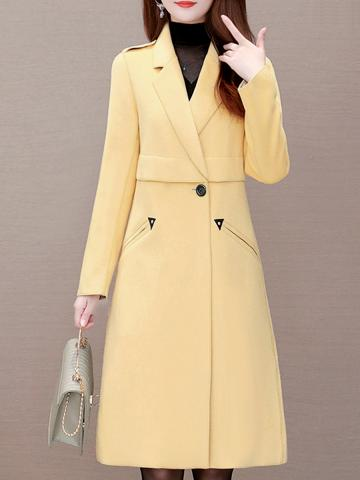 Notch Lapel Plain slim long coat