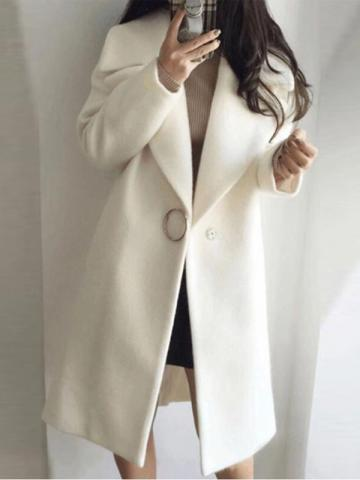 One Button Loose Long Womens Overcoat