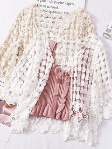 Open-Front Lace Cardigan