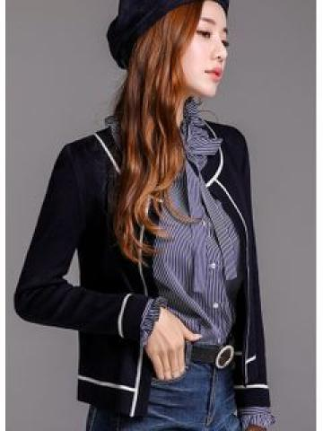 Open-Front Piped Slim Cardigan