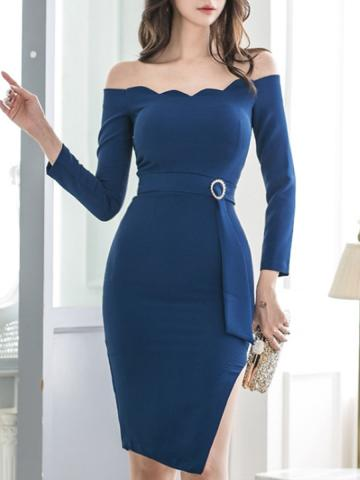 Open Shoulder Plaid  Bodycon Dress