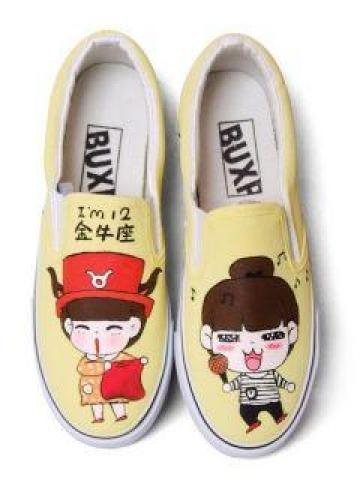 Painted Couple Canvas Slip-Ons