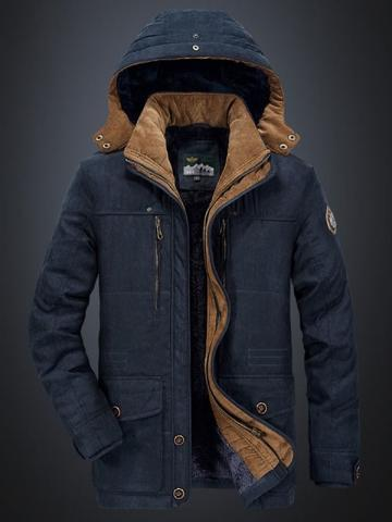 Patchwork Mid-Length Hooded Zipper Mens Down Jacket