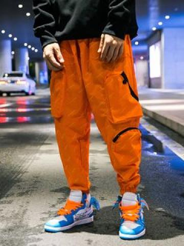 Patterned Pocketed Jogger Pants