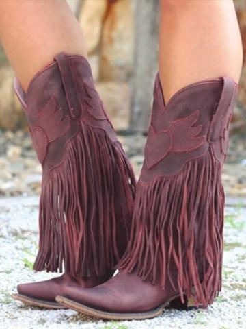 Plain  Chunky  Point Toe Boots