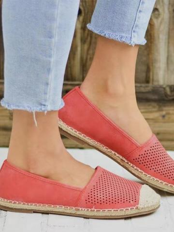 Plain Flat Peep Toe Casual Travel Flat & Loafers