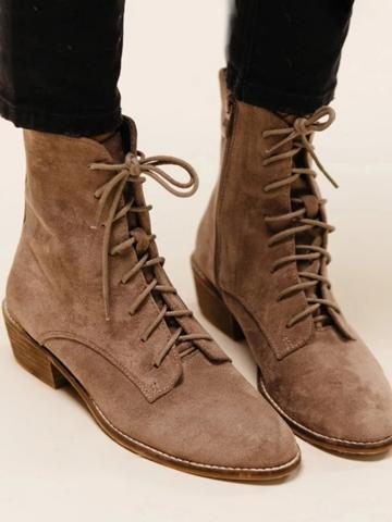 Plain Flat Velvet Point Toe Date Outdoor  Flat Boots