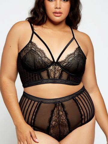 Plus Size Gwendoline Mesh Bra Set by iCollection, Black, Size 1X - Yandy.com