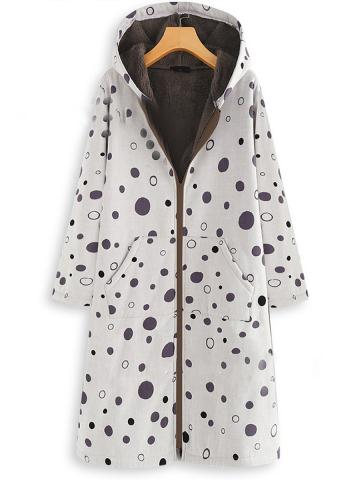 Polka Dot Print Plus Fleece Hooded Zipper Long Coat
