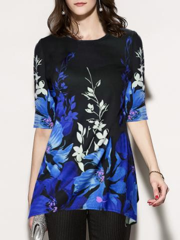Polyester  Round Neck  Abstract Print Floral Printed  Half Sleeve Short Sleeve T-Shirts