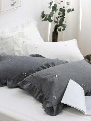 Pompom Embroidered Pillow Cover