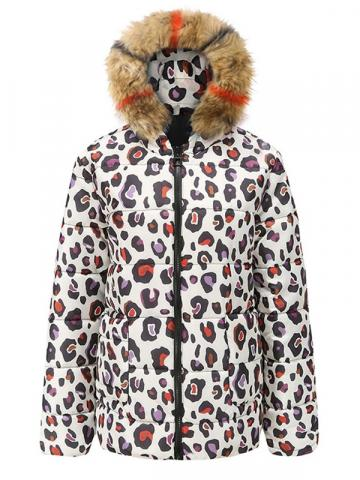 Print Zipper Leopard Straight Thick Mid-Length Womens Cotton Padded Jacket