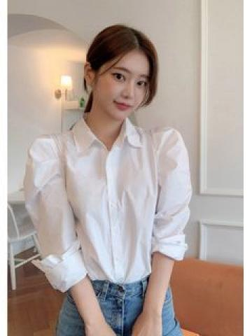 Puff-Shoulder Plain Shirt