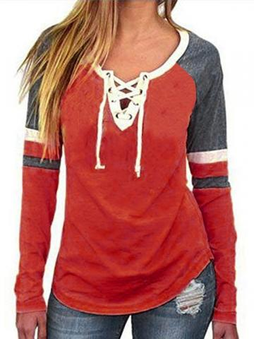 Raglan Sleeve Color Block Lace-Up Womens T-Shirt