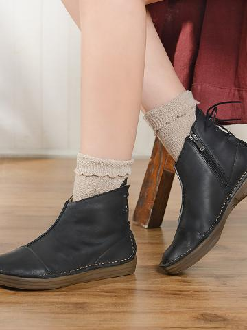 Retro ladies pure color back lace-up low-heel ankle boots