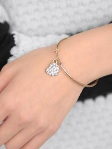Rhinestone Charm Bangle
