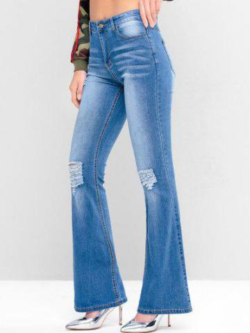 Ripped Pockets Flare Jeans
