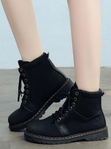 Round head lace ankle boots women's low heeled suede high-top cotton shoes