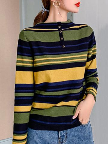 Round  Neck  Casual  Striped  Long Sleeve  Knit  Pullover