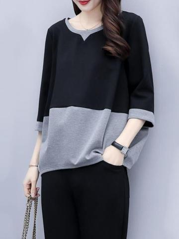 Round Neck Color Block Short Sleeve T-shirt And Elastic Waist Bottom Suit