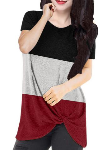 Round Neck Color Block Short Sleeve T-Shirt