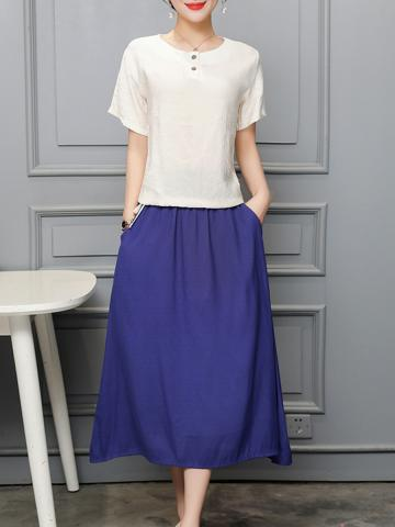 Round Neck Color Block Two-Piece Maxi Dress