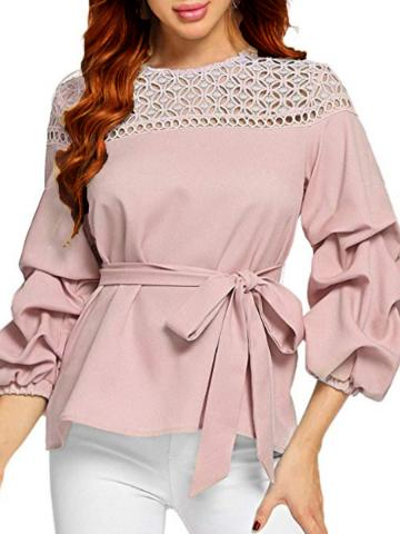 Round Neck Cutout Lace Cropped Sleeve Blouse