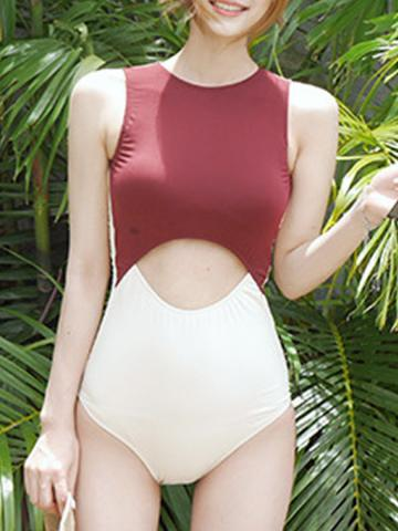 Round Neck  Cutout One Piece Swimwear