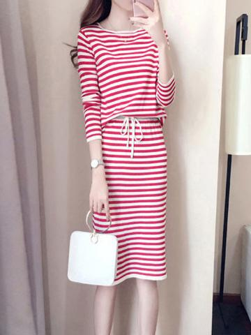 Round Neck  Drawstring  Striped Two-Piece Shift Dress