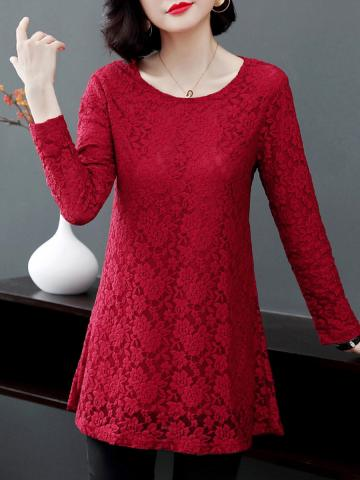 Round Neck Elegant  Lace Long Sleeve T-Shirt