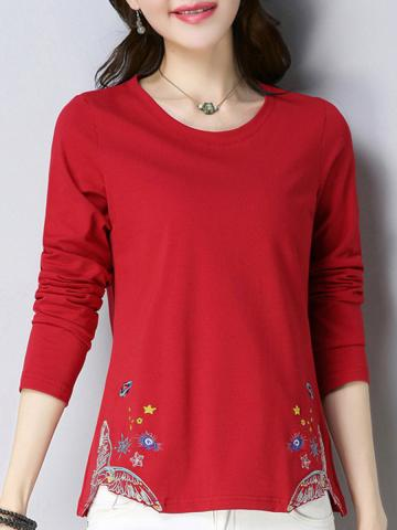 Round Neck Floral Printed Long Sleeve T-shirt