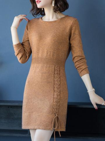 Round Neck Lace Knitted Shift Dress
