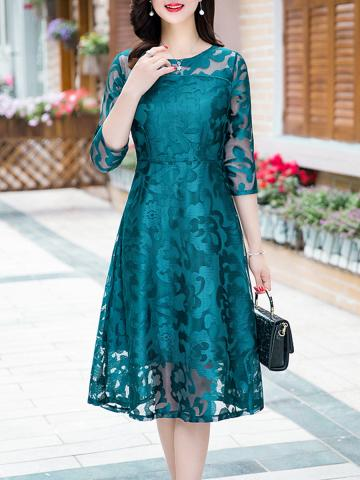 Round Neck  Lace Maxi Dress