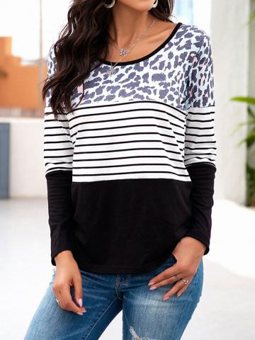 Round Neck Leopard Patchwork Long Sleeve T-shirt