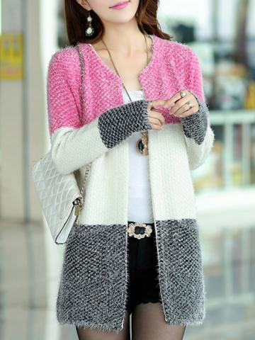 Round Neck Medium Elegant Long Sleeve Knit Cardigan sweater