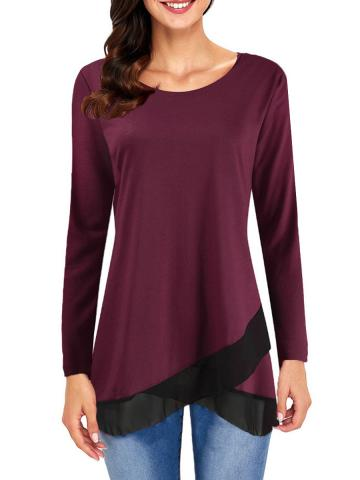 Round  Neck  Patchwork  Brief  Long Sleeve  T-Shirt