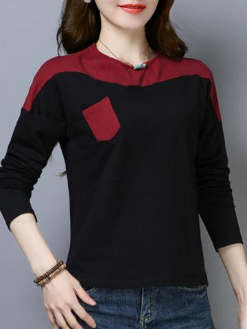 Round  Neck  Patchwork  Casual  Color Block  Long Sleeve  T-Shirt