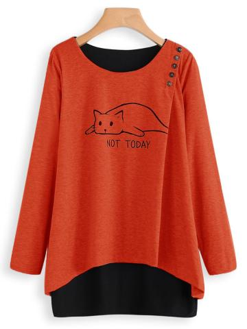 Round  Neck  Patchwork  Casual  Decorative Button  Printed  Long Sleeve  T-Shirt