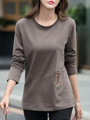 Round  Neck  Patchwork  Casual  Embroidery  Long Sleeve   T-Shirt