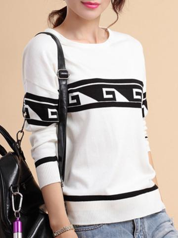Round  Neck  Patchwork  Casual  Long Sleeve  Knit Pullover