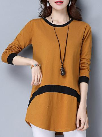 Round  Neck  Patchwork  Casual  Long Sleeve  T-Shirt