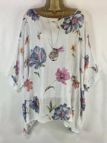Round Neck  Patchwork  Floral Printed Blouses