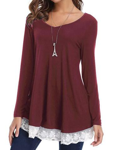 Round  Neck  Patchwork  Medium  Casual  Lace  Long Sleeve  T-Shirt