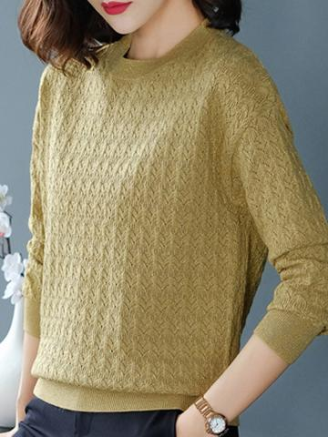 Round Neck Plain Long Sleeve Knit Pullover Sweater