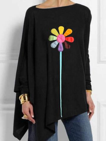 Round Neck Print Casual Loose Fitting Long Sleeve T-Shirt