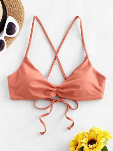 Ruched Lace Up Bikini Top