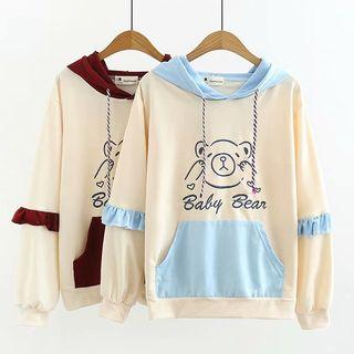 f81acf44e6c04 Angel Love Ruffle Trim Bear Printed Color Block Hoodie - YesStyle ...
