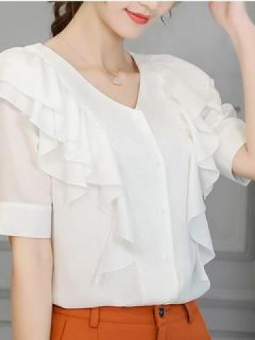 Ruffle Trim Short-Sleeve Blouse